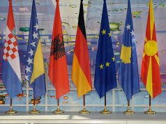 Western Balkans countries' flags during Berlin process
