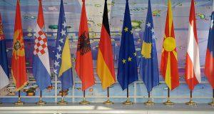 Western Balkans countries' flags during Berlin process