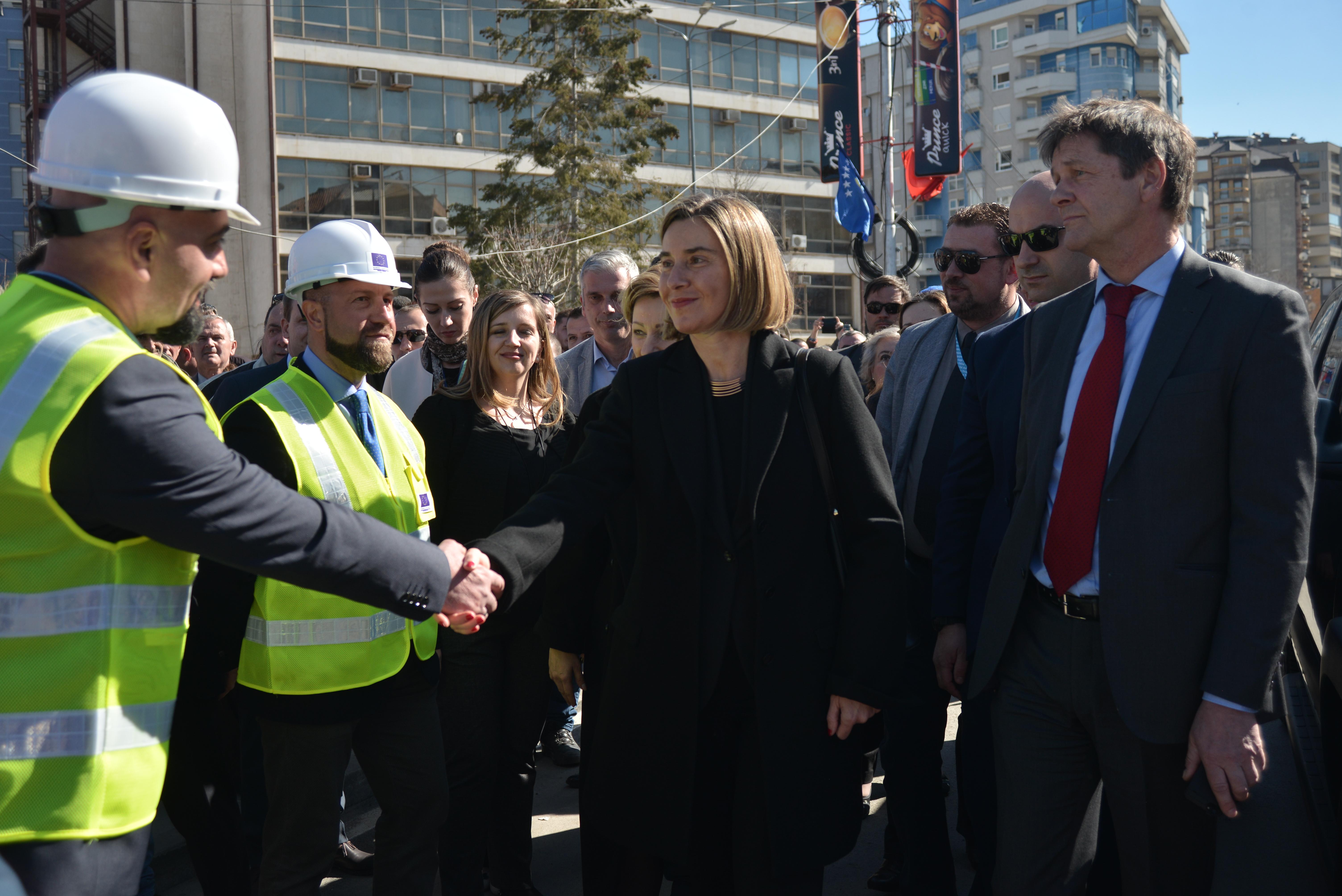HRVP Federica Mogherini during the bridge ceremony in Mitrovica.